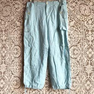 Ralph Lauren Light Blue Linen Cargo Pants 10